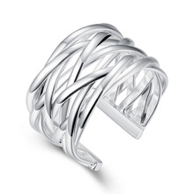 Dames Zilveren Ring Fashion Silver-plated Men's Ring Wedding Band Anel Masculino Net Weaves Cross Bijoux Opening Finger Rings