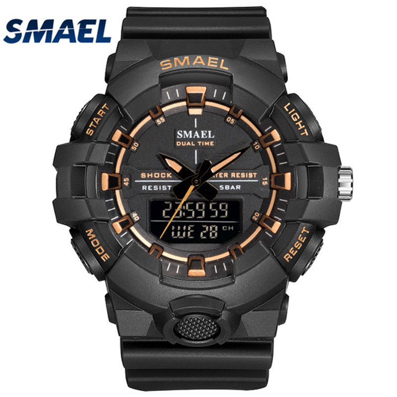 SMAEL Casual Sport Watch Men Military Wristwatches Mens LED Digital Watches 50M Waterproof Army Men's Clock relojes hombre 2018 agelocer brown watch a classic timepiece sport dual dial mens casual wristwatches wristwatch free shipping relojes para hombre