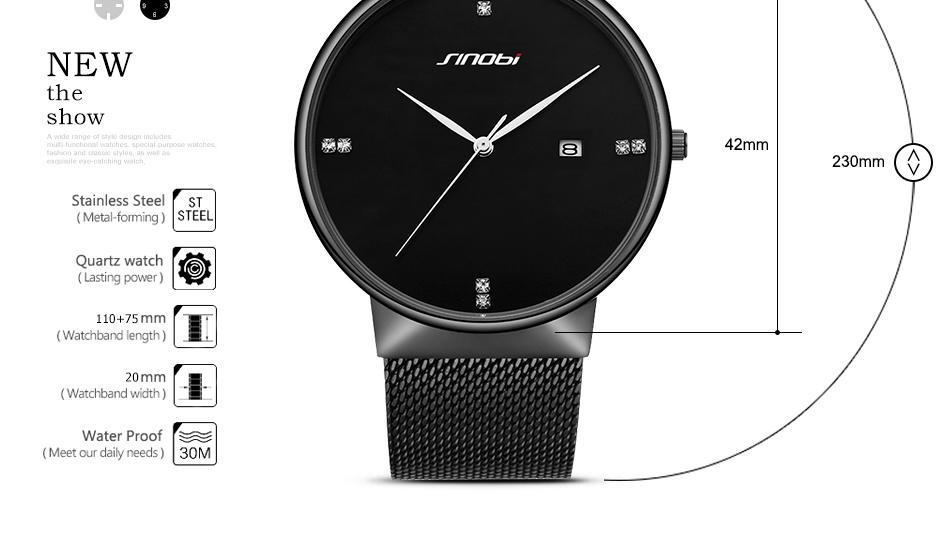 SINOBI Men Quartz Watch Luxury Top Brand Fashion Mesh Delicate Ultra-thin Business Watch Full Stainless Steel Male Wrist Watches 3