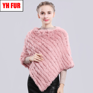 Image 1 - Fashion Real Rabbit Fur Poncho Genuine Real Rabbit Fur Shawl Scarf Knitted Elastic Women Party Real Natural Rabbit Fur Pashmina