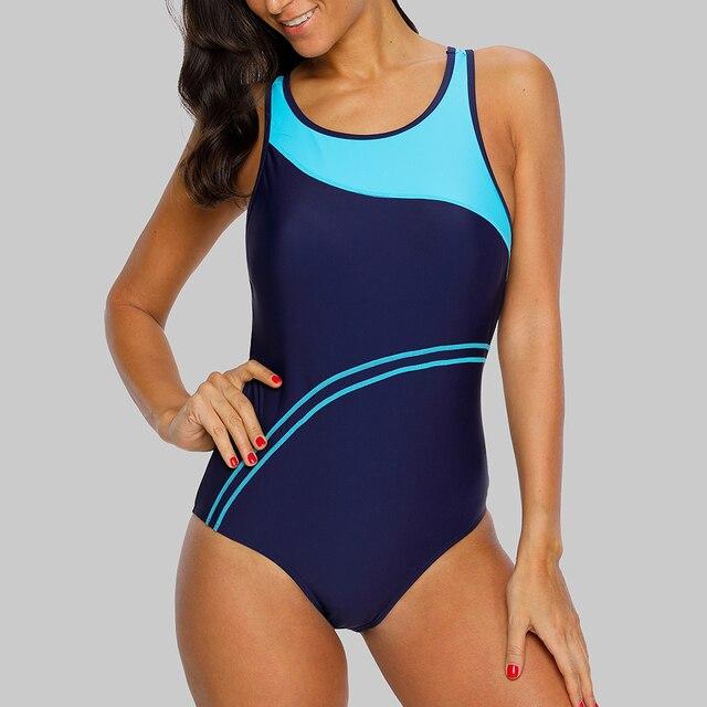 Charmleaks One Piece Women Sports Swimwear Striped Swimsuit Women Bikini Beach Wear Bathing Suit Monokini 2