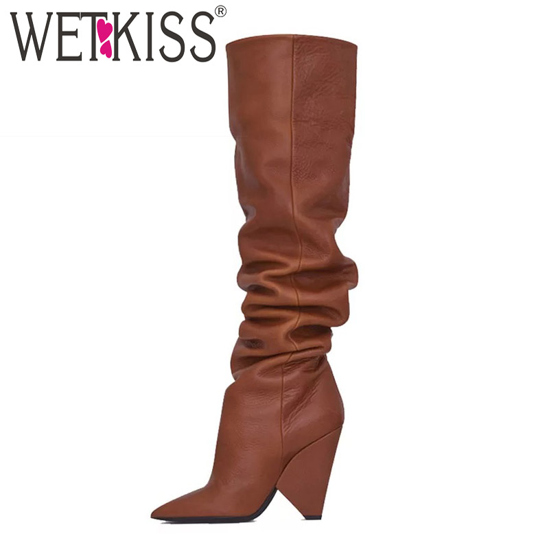 WETKISS Pu Unusual Heel High Women Boots Pointed Toe Footwear Pleated Boot Female Over The Knee Shoes Woman Winter 2019 NewWETKISS Pu Unusual Heel High Women Boots Pointed Toe Footwear Pleated Boot Female Over The Knee Shoes Woman Winter 2019 New