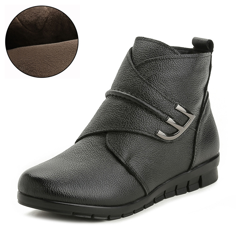 New Plush Women Boots Ankle Snow Boots Woman Keep Warm Winter Mother Shoes Soft Genuine Leather Flats Shoe Cotton Women Footwear