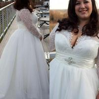 Thinyfull 2019 Long Sleeves V Neck Designers White Ivory Lace Women Mature Women Adult Bridal Gowns Plus Size Wedding Dresses