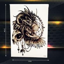 25 Стиль Символ власти монарха Временные Татуировки Тела Мужчин, рука Татуировки Женщины 21×15 СМ Индийский Львиная Голова Тату Хной Череп тотем