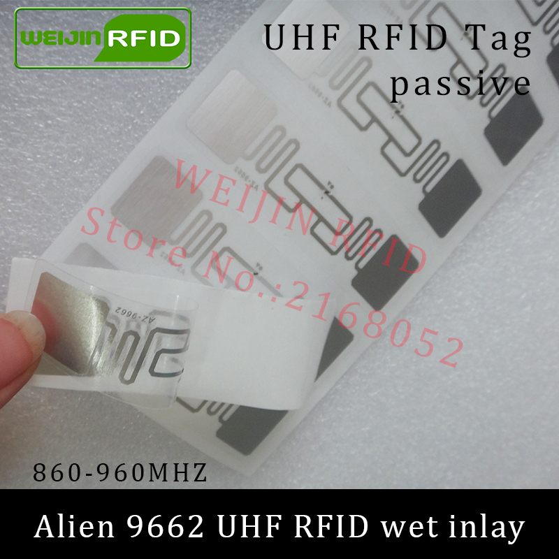 UHF RFID tag sticker Alien 9662 wet inlay 915mhz 900 868mhz 860-960MHZ Higgs3 EPCC1G2 6C smart adhesive passive RFID tags label 860 960mhz long range passive rfid uhf rfid tag for logistic management