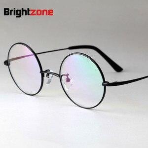 Image 3 - Brightzone Pure Titanium Herstellen Oude Manieren Brilmontuur Man Optics Bijziendheid Cirkel Brilmontuur Mevrouw Bril Frame E 8018
