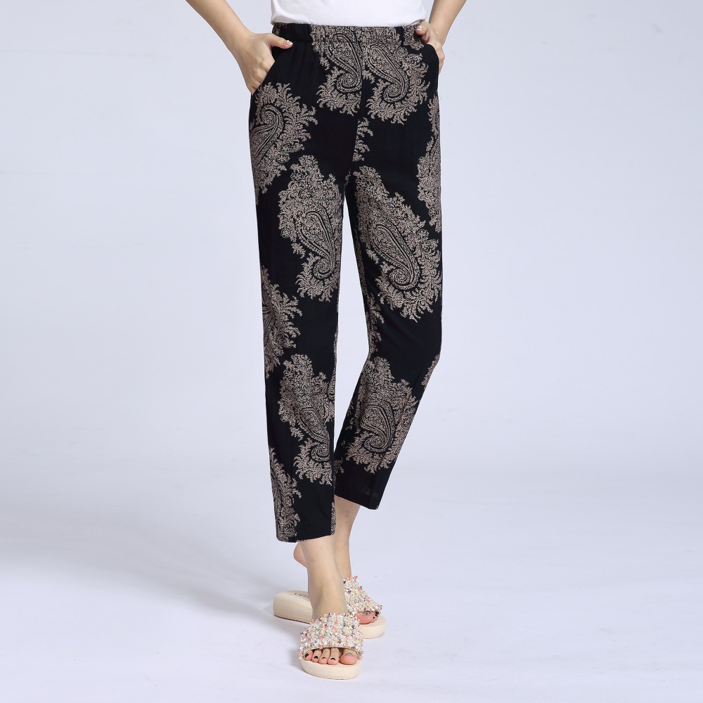 Woman Summer Cropped Pant Oriental Floral Pattern Print Cotton Crop Trouser Female Casual Elastic Band Waist Pantalones Mujer XL