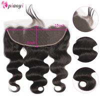 Piaoyi Brazilian 13X6 Lace Frontal Closure Body Wave Remy Human Hair Closure With Baby Hair Ear To Ear Lace Frontal Closure