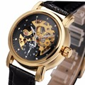 WINNER Women Luxury Classic Vintage Automatic Mechanical Wrist Watch Leather Band Hollowed Dial Fashion Golden Skeleton + BOX