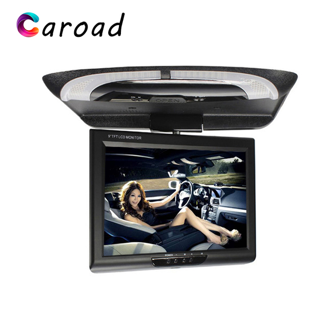 Caroad 9 Inch 800x480 Car Roof Mount LCD Color Monitor Flip Down Screen Overhead Multimedia Video Ceiling Roof mount Display