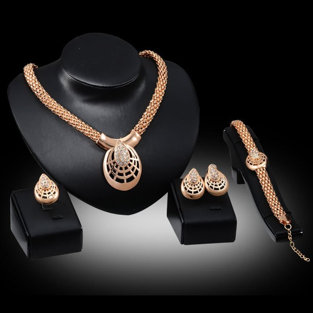 Cheap price African costume jewelry set crystal rhinestone Hollow