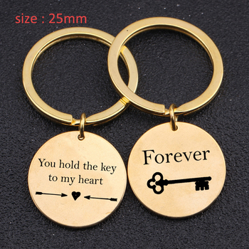 Fashion Lover Keychain Engraved You Hold The Key To My Heart Forever For Anniversary Couple Lovers' Gift Key Ring Holder