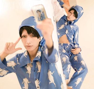 Levi/Rivuai/Rivaille cotton sleepwear Anime Attack On Titan Shingeki No Kyojin Rivaille Cosplay Pajamas Costumes Suit +hat
