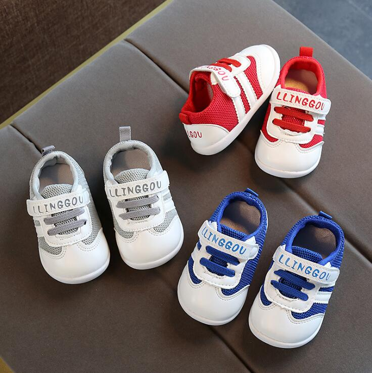 Spring Summer Baby Girls Boys Casual Shoes Pachwork Air Mesh Toddler Shoes 3color 0-1.5years 15-19 106 TX09