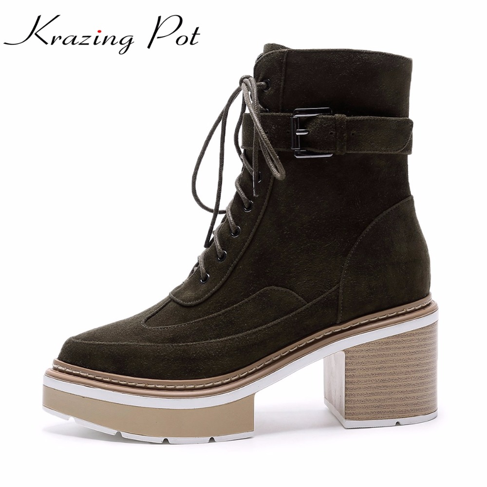 Krazing Pot 2018 genuine leather platform metal buckle lace up boots high heels superstar pointed toe women mid-calf boots L0f7 zippers double buckle platform mid calf boots