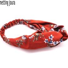 Metting Joura Summer Bohemian Ethnic Red Flower Headband For Women & Girls Elastic Cross Hair Band Hair Accessories