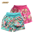 Floral Pattern Baby Girls Shorts Summer Style Kids Short Pants Children Cuffed Leg Bottoms Trousers 2-7Y Toddler Girl Clothing