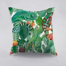 Tropical Cactus and Gecko Printed Cotton Cushion Cover Creative Decorative Pillow Case For Car Home Sofa