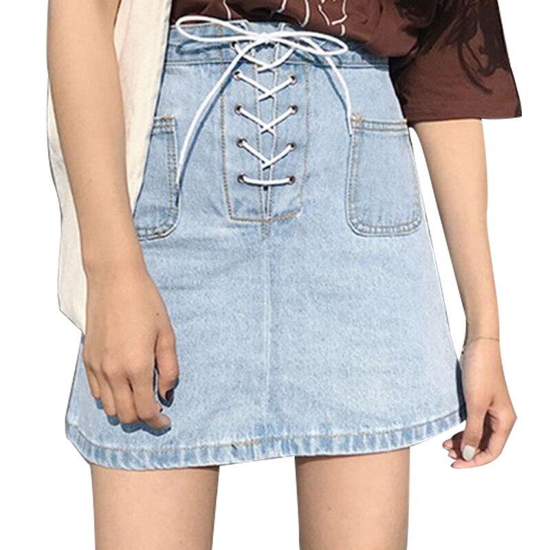 Kawaii Women Skirt Harajuku Preppy Style A-line Lace-up Denim Mini Skirts Saia School Uniforms Faldas Ladies Jupe