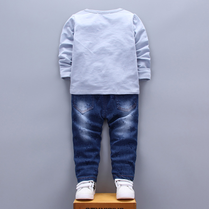 Patchwork Star Kids Clothing Sets for Boys Girls age 1 2 3 4 Years T-shirt Jeans Pants Two Pieces Suits White Blue Green 2017  (17)