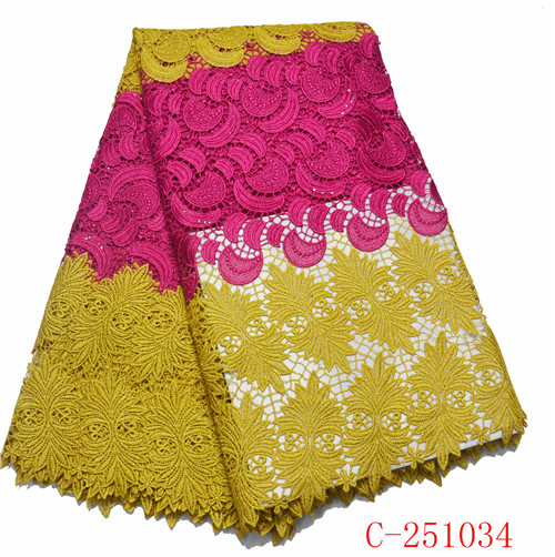 African High Quality Wedding Lace Fabric Embroidery Multi Color Water Soluble Chemical Lace For Bridesmaid Dresses