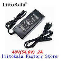 Cargador HK Liitokala 54,6 V 2A cargador de batería de iones de litio de 13S 48V salida de CC 5,5*2,1 MM 54,6 V cargador de batería de polímero de litio