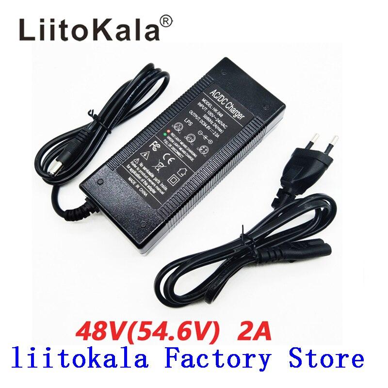 Carregador de bateria do li-íon do carregador 13 s 48 v 2a de hk liitokala 54.6 v saída dc 5.5*2.1mm carregador de bateria do polímero do lítio 54.6 v