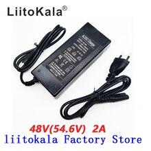 Hk liitokala 54.6v 2a carregador, 13s 48v, li ion, bateria de carregador, saída dc 5.5*2.1mm 54.6 carregador de bateria em polímero de lítio v,