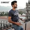 Simwood 2017 nova primavera camisas de t dos homens de manga curta o pescoço carta do vintage da moda t td1126