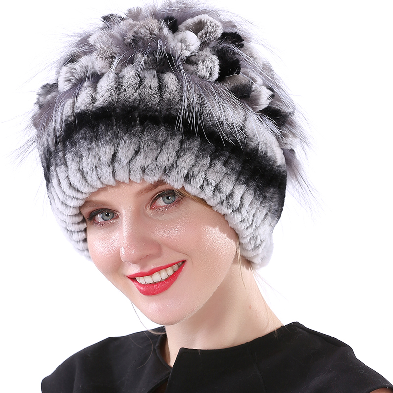Winter Hats for Women Rabbit Hat Knitted Elastic Real Fur Hat Winter Fur Hat