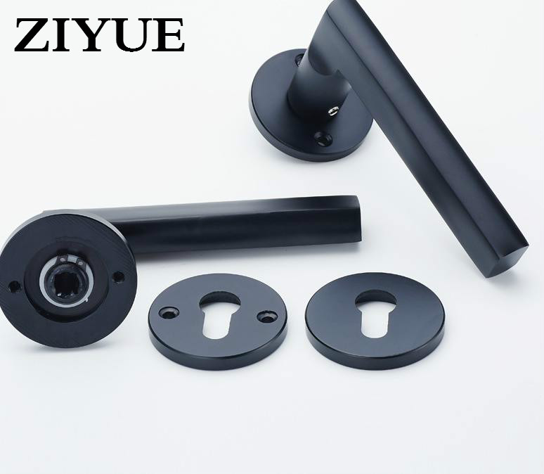 Free Shipping Black Solid Space Aluminum Door Locks Bedroom Minimalist Interior Door Handle Lock black space aluminum treasure bedroom room door handle interior wooden door lock handle lock kit