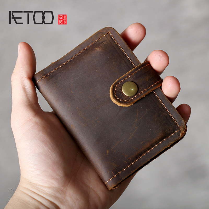 AETOO Crazy Horse Leather Vintage Card Baotou Layer Cowhide Driver's License Bag Male Leather Card Bag