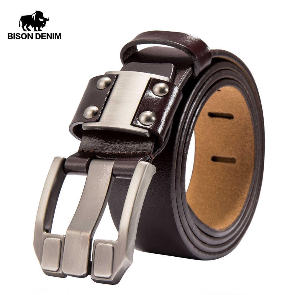BISON DENIM Men's Jeans   Belts   Pin Buckle Cowhide Genuine Leather   Belts   Vintage Brand Waistband Strap   Belt   For Men Male N71350