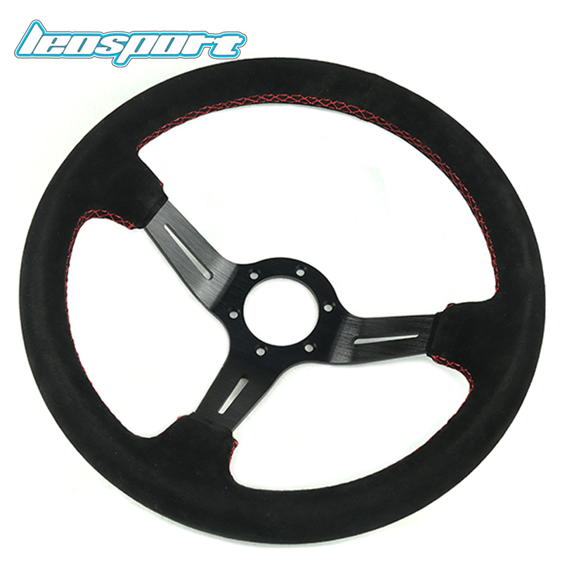 13.5 (340mm) Steering Wheel suede Leather red line Steering Wheel light deep Racing Steering Wheel цена