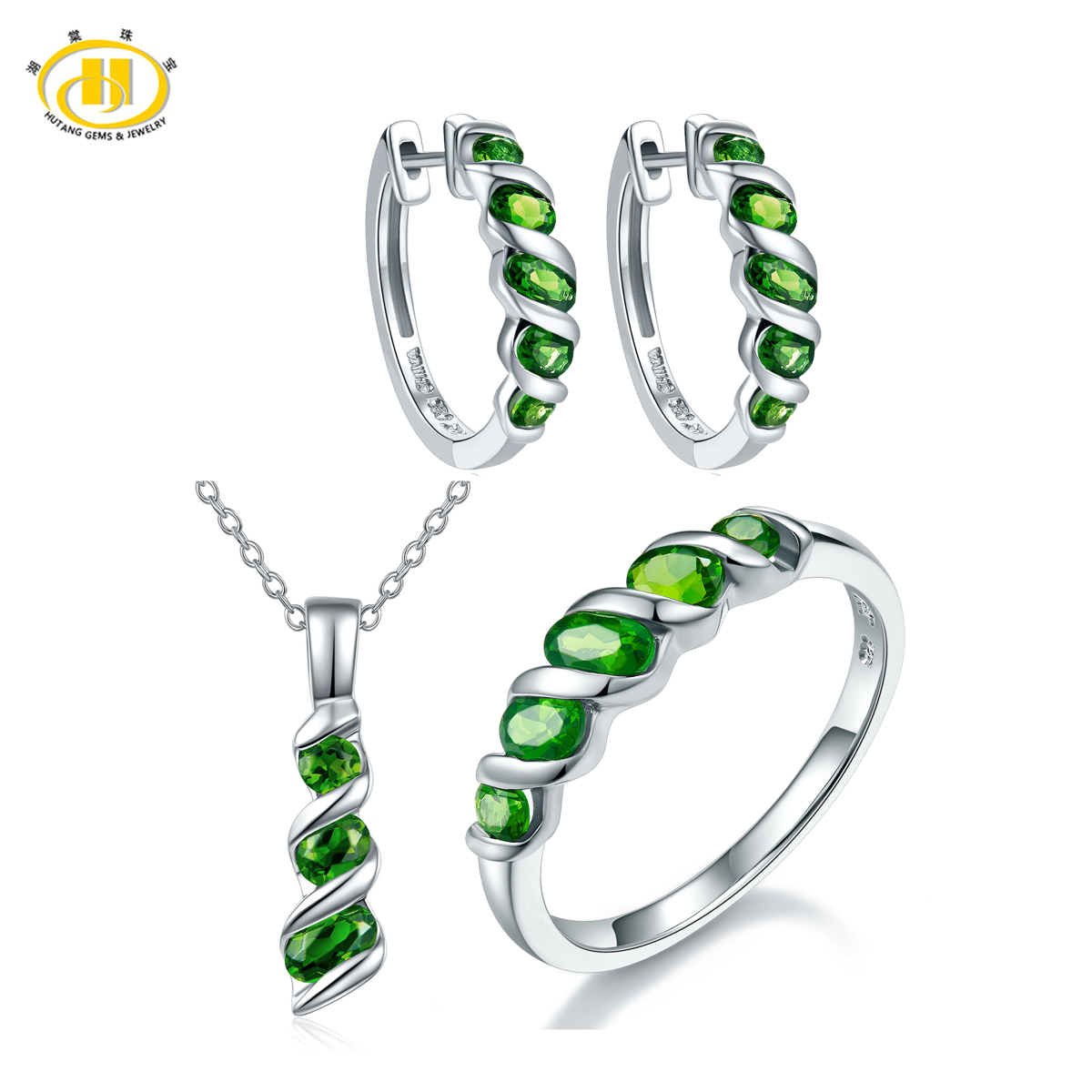 Hutang Classic Russian Chrome Diopside Jewelry Sets for Women Solid 925 Sterling Silver Gemstone Jewelry Pendant Earrings RingHutang Classic Russian Chrome Diopside Jewelry Sets for Women Solid 925 Sterling Silver Gemstone Jewelry Pendant Earrings Ring