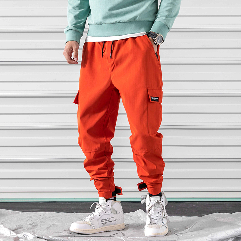 Japanese Multi pocket Casual Pants Men Active Color Solid Hip Hop Trousers Boys Retro Designs Fashion Streetwear Mens Joggers