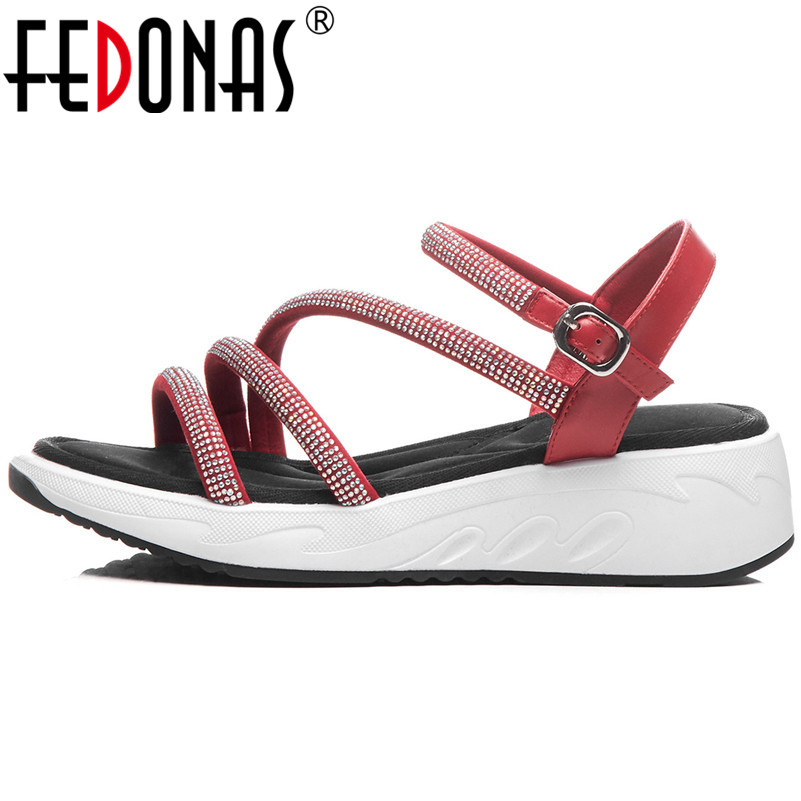 FEDONAS Women Sandals New Rhinestone High Heels Fashion Sexy Casual Party Shoes Summer Shoes Woman Round
