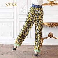 VOA тяжелый шелк шаровары женские повседневные длинные брюки желтый принт Весна плюс размер 5XL Свободные Boho спортивные брюки Jogger K518