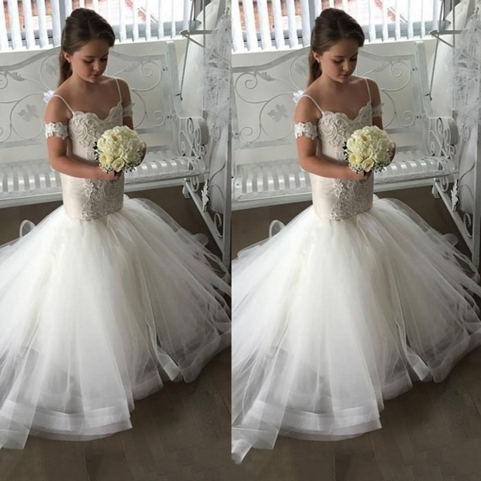 Sheath   Flower     Girls     Dresses   For Weddings 2019 Spaghetti Straps Appliques Pageant   Dresses   Party   Dresses   Sweep Train