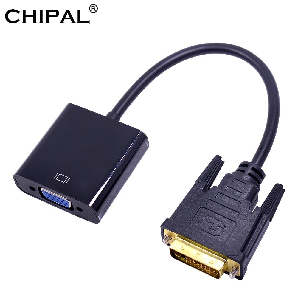 CHIPAL 10PCS DVI Male to VGA Female Video Converter Adapter DVI 24 1 25 Pin DVI