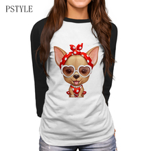 Chihuahua Retro Beauty Print T-Shirt Autumn Cute Women Funny Raglan Sleeve Tops Girls Casual Tees Ladies T Shirt PSTYLE