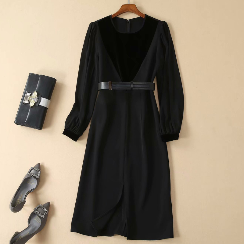 ロングドレスデザイナー高品質秋の新女性のファッションワークパーティーセクシーなセクシーなエレガントなシックな鉛筆黒長袖ドレス  グループ上の レディース衣服 からの ドレス の中 3