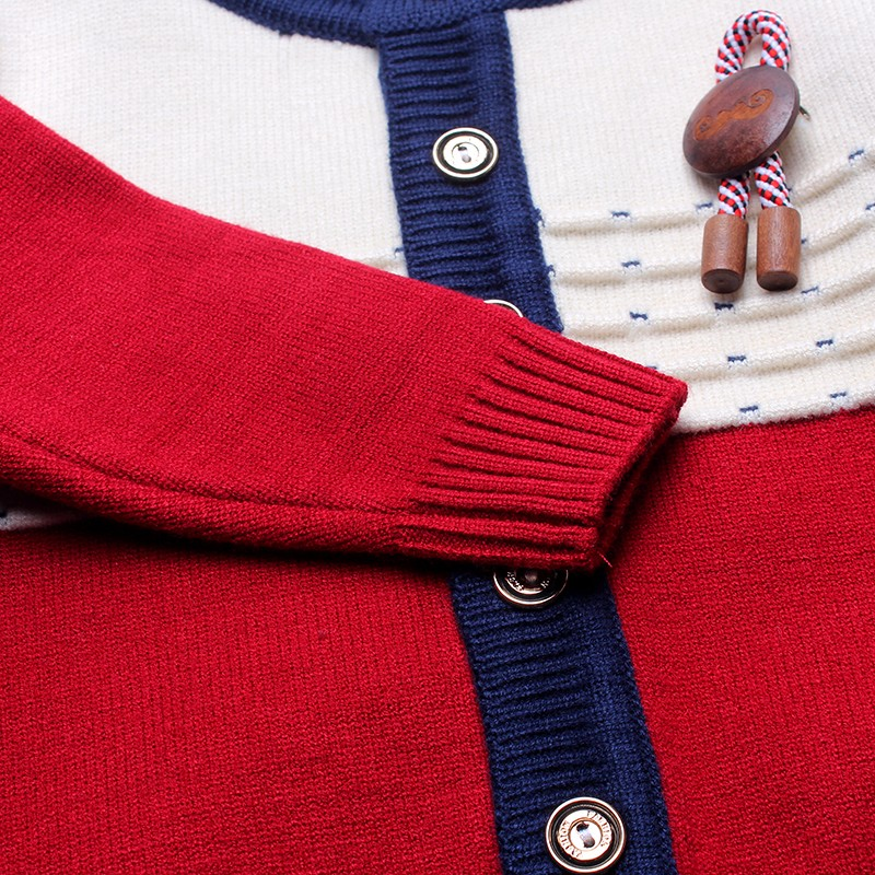 Boys Sweaters Print Cotton Top Knit Infant Outfit With Button Boy Corsage Outerwear Winter Warm Apparel Cardigan Knitted Clothes (1)