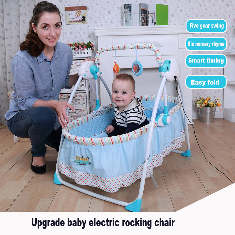2016 Rushed Limited Patchwork Berceau Baby Bassinet Newborn Sleeping Bed Primi Electric Cradle Baby Shaker Rocking Crib Swing primi baby electric rocking chair baby cradle bed crib