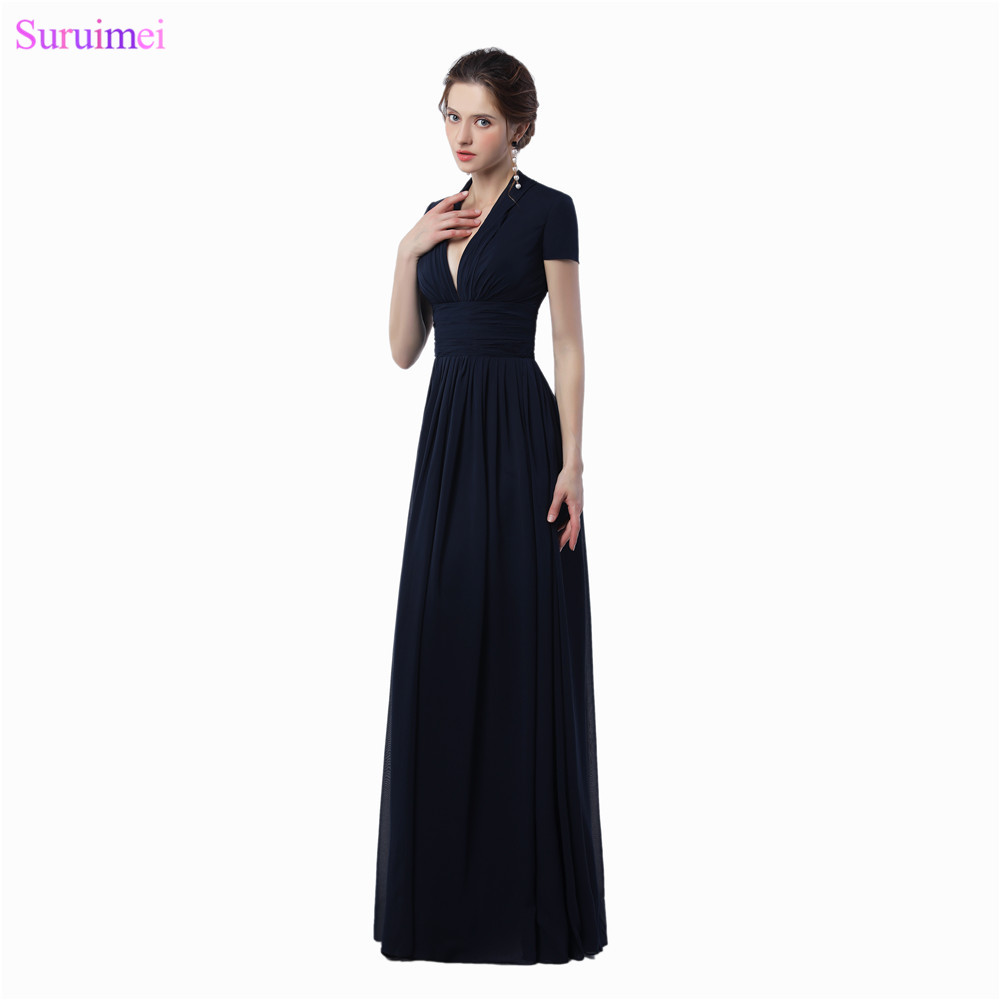 Formal Women Gown Sexy Deep V Neck With Short Sleeves Black Evening Dresses Navy Blue Chifon Floor Length Long Evening Gown