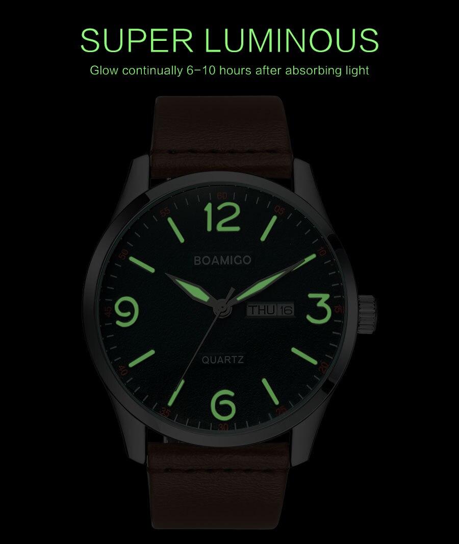 homem casual couro marrom relógios de pulso à prova dwaterproof água