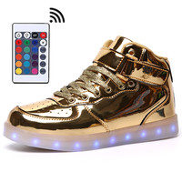 Remote Control Led Mens Fashion Luminous Shoes High Top LED Lights USB Charging Colorful Shoes Unisex Gold Casual Flash Shoes
