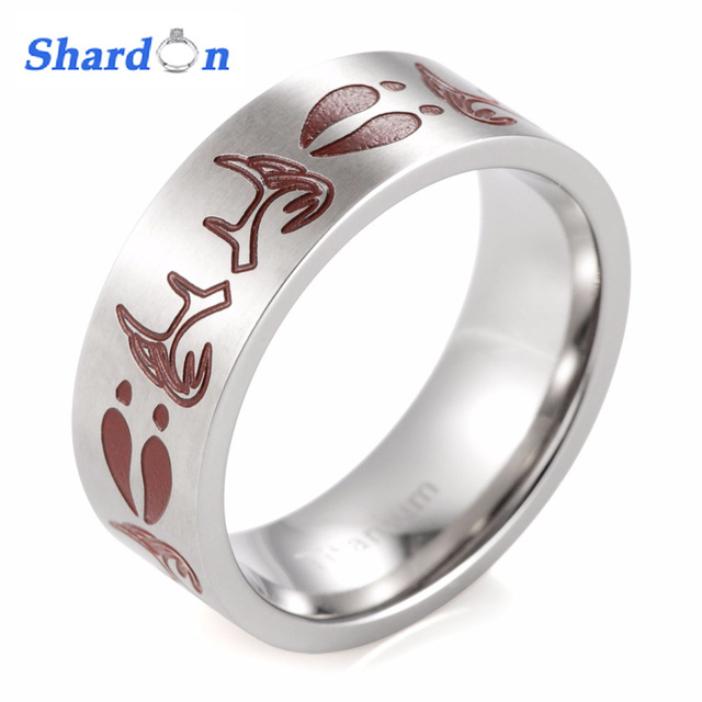 Shardon Ring Jewelry Men Anium Red Deer Tracks And Antlers S Outdoor Wedding