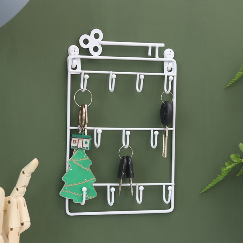 Iron Wall Mounted Hooks 11 Hangers Decorative Key Holder Metal Coat Hat Rack Home Decoration Storage Organizer Key Holder Wall